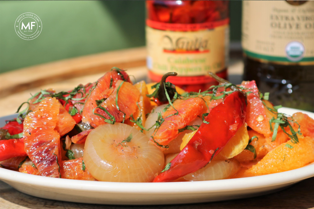 A bright, citrusy and spicy salad of fresh oranges and Calabrian chili peppers.